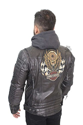 - Harley-Davidson Mens Marmax Racing Eagle 3-in-1 Leather Jacket (5X) Black