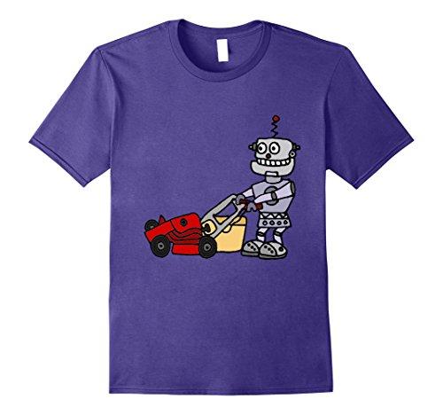 Price comparison product image Mens Smiletodaytees Funny Robot Mowing Lawn T-shirt Medium Purple
