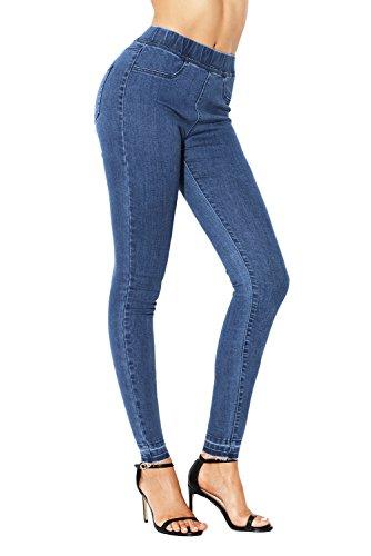 Sidefeel Women Pull-on Skinny Jeans Leggings Elastic Waist Stretch Pants