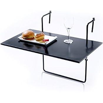 MyGift Folding Balcony Table, Railing Mounted Serving Display Tray, Black