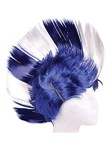 Defonia Costume Adult Blue and White School and Team Spirit Mohawk -