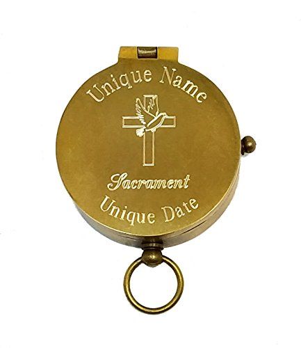 刻印アンティーク真鍮ポケットコンパス( Cross and Dove、Personalized洗礼/確認ギフト) B0799QX9MP パーソナライズコンパスとプラーク付きボックス