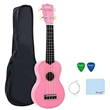 Strong Wind Pink Soprano Ukulele for Kids with Carry Bag Nylon String Polishing Cloth