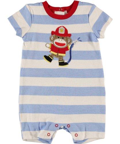 Baby Boy's Blue & White Striped S/S Fireman Sock Monkey Romper (6 Months)
