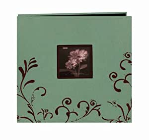 """Pioneer - Scroll Embroidery Fabric Postbound Memory Book With Window 12"""" X 12"""" Aqua With Brown"""