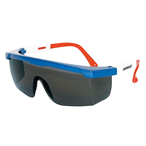 (Ironwear Caribou 3600 Series Nylon Protective Safety Glasses, Grey Lens, Red-White-Blue Frame (3600-U-G))