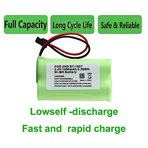 Cordless Phone Battery for Uniden BT-904 |BT-1015 | HHR-P506 | Type 17 1400mAh 2.4V NIMH Rechargeable AA Battery ()
