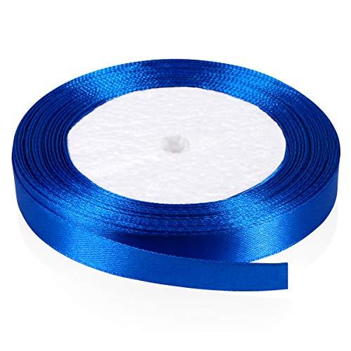 Solid Color Satin Ribbon, Kissbuty 1/2 Inch 25 Yards Gift Wrapping Ribbons Single-Sided Fabric Ribbon Embellish Ribbon Silk Ribbon Roll for Bows Crafts Gifts Party Wedding (Royal Blue)