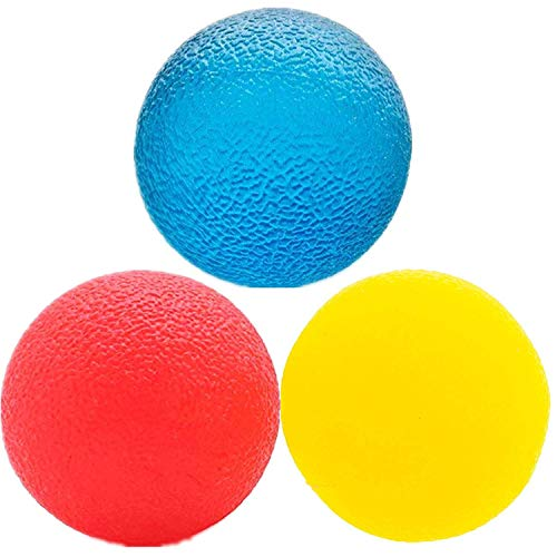 (3 Resistance Levels Physical Therapy Hand Ball Stress Relief Ball Multiple Resistance Therapy Exercise Gel Squeeze Balls Kits for Hand Finger Wrist Muscles Arthritis Grip Exerciser Strengthening 3pcs)