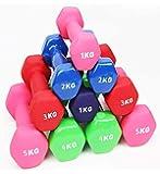 REDSUN Fitness Neoprene Dumbbells Home Exercise Vinyl Dumbbell Pairs 1kg/ 2kg/ 3kg/ 4kg/ 5kg -Green, Purple, Red - Multi Colors