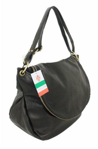 lisa de cubierta Italy piel de piel Nero 00168 piel hombro bolso fSxzwx7Fq