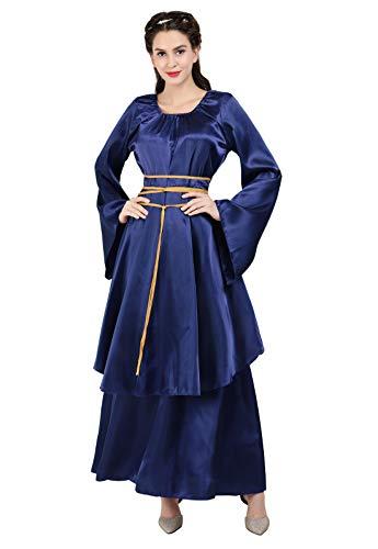 Zhitunemi Women's Halloween Cosplay Costume Renaissance Medieval Irish Over Lolita Dress Victorian Retro Gown Role Blue-S