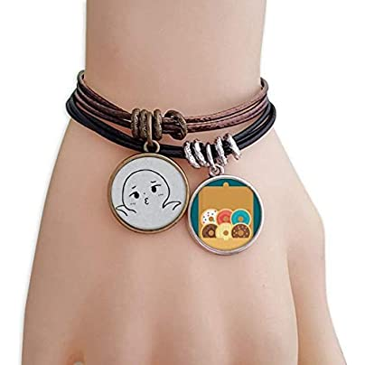 SeeParts Helpless Pout Black Emoji Pattern Bracelet Rope Doughnut Wristband Estimated Price £9.99 -