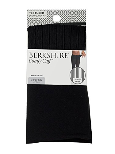 Berkshire Women's Plus Size Comfy Cuff Vertical Stripe Trouser Socks, Black, Plus ()