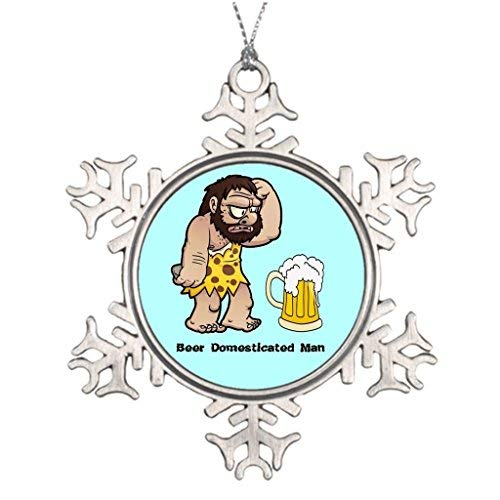 OneMtoss Christmas Snowflake Ornament Tree Branch Decoration Caveman Beer Domesticated Man - Xmas Snowflake Ornament ()