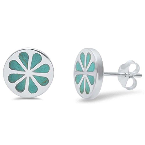 Blue Silver Inlay Turquoise Sterling (10mm Round Flower Earring Simulated Green Turquoise 925 Sterling Silver Flower Stud Earrings)