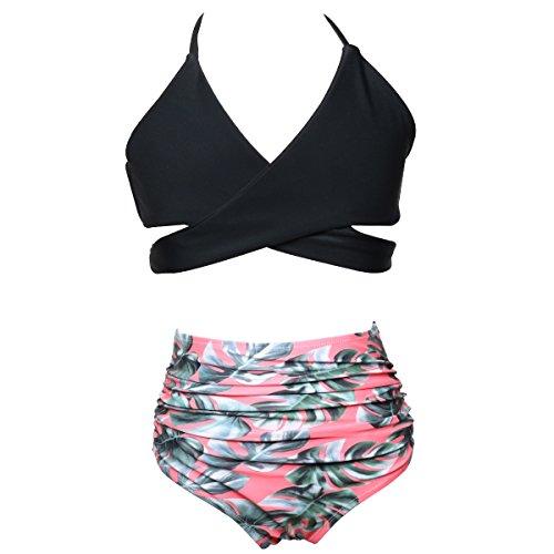 VENI MASEE Damen Eltern-Kind-Outfit Bikini hohe Taille Bikini Badeanzug zweiteilige (kann Erwachsene oder Kind Stil wählen) KindSchwarz3 PQ2JtZy