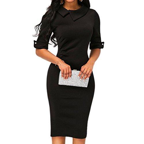 verfügbaren Angebote,kleider Ronamick Frauen Retro Bodycon unter dem Knie formale Büro Kleid Pencil Kleid mit Rücken Reißverschluss Schwarz