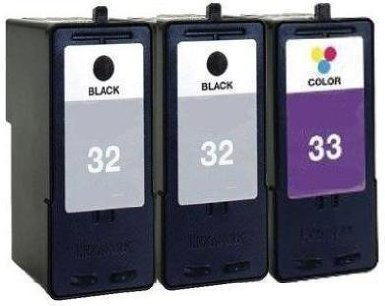 HouseOfToners Remanufactured Ink Cartridge Replacement for Lexmark 32 & 33 (2 Black & 1 Color, 3-Pack)