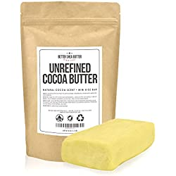 Unrefined Cocoa Butter - Raw, 100% Pure with Natural Cocoa Scent, 8 oz