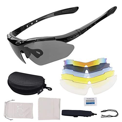 Gepolariseerde sport zonnebril sportieve zonnebril UV400,met 5 wisselglazen,bescherming paardrijden bril,verwisselbare…