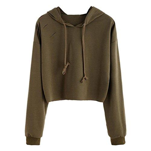 Goddessvan Womens Long Sleeve Hoodie Sweatshirt Jumper Hooded Pullover Hole Tops Blouse Outwear