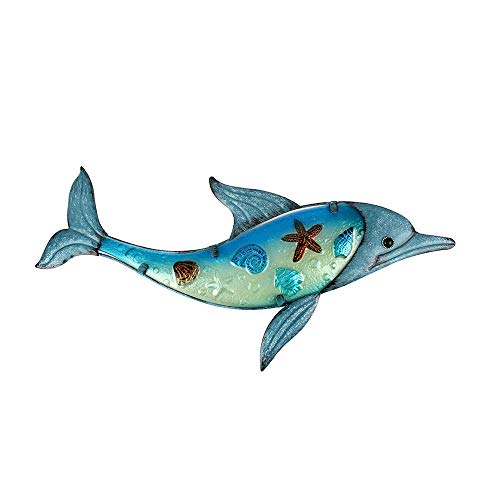 Liffy Metal Dolphin Wall Art Outdoor Sea Decor Hanging Decorative Glass Sculpture Blue for Patio, Deck or Garden
