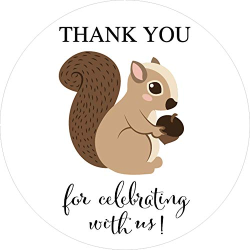 Squirrel Woodland Animal Thank You Stickers, Baby Shower or Birthday Party Sticker Labels, Party Circle Decorations, Supplies, 40-Pack 2