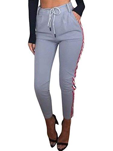 Training Pantaloni High Waist Tempo Weimilon Libero Moto Pantaloni Donna Pantaloni Conchic Pantaloni Sportivi Grau Coulisse Sottile Palestra Eleganti w8qa08x7f