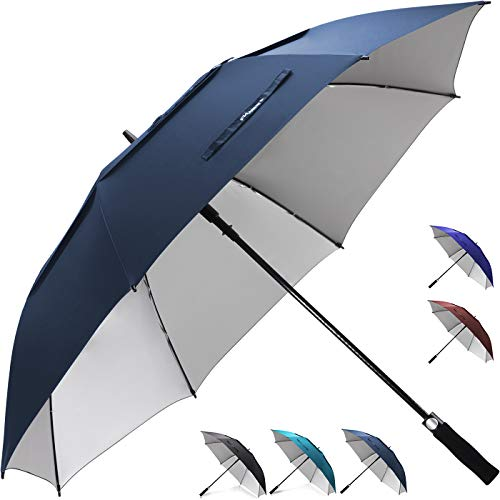 ZEKAR 54/62/68 inch Windproof Large Vented UV Protection and Classic Pongee Fabric Golf Umbrella, Double Canopy Rain Sun Oversized Stick Umbrellas Women Men