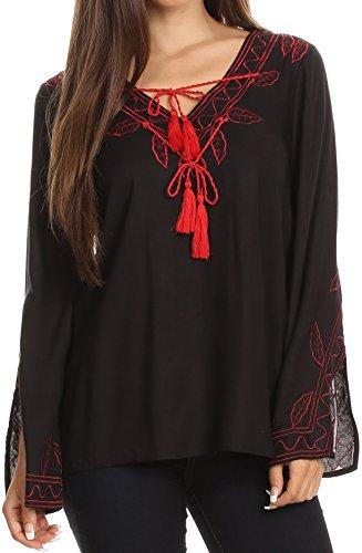 Sakkas 57140 - Kile Bell Long Sleeved Embroidered Tassel V Neck Tie Wide Blouse Shirt Top - Black - L/XL (Black Embroidered Blouse)