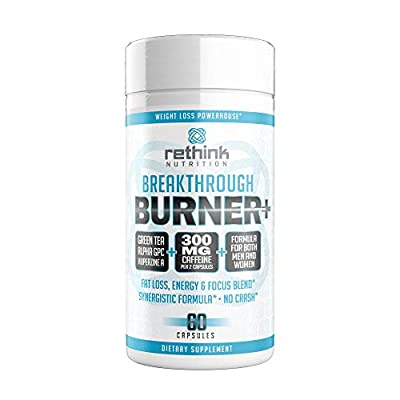 Rethink Nutrition Breakthrough Fat Burner 60, Appetite Suppressant, Supplement, Weight Loss Aid, Nootropic, Caffeine, Focus, Energy, For Men and Women, Thermogenic, Help Melt Belly and Arm Fat