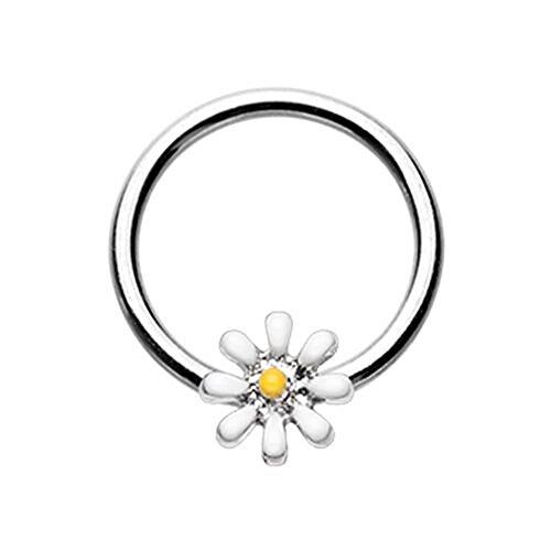 Daisy Flower Steel WildKlass Captive Bead Ring (16g 5/16