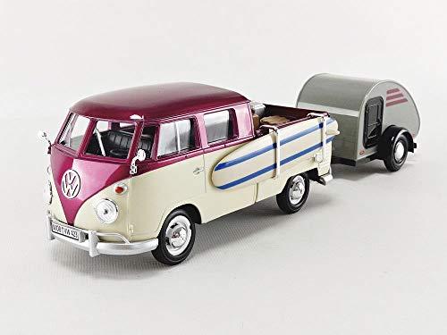 Motormax Volkswagen T1 Pickup Truck Purple & Cream with Surfboard, Accessories & Gray Teardrop Trailer 1/24 Diecast Model Car 79673