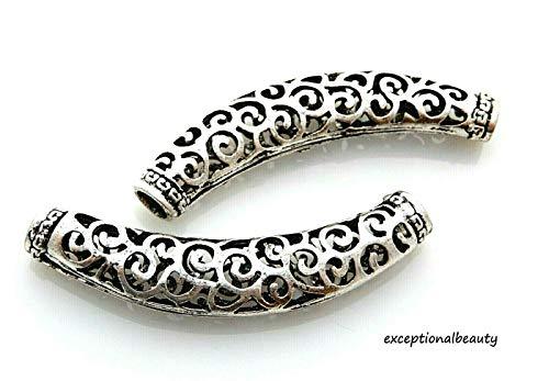 5 Large 64mm Tibetan Silver Curved Tube Focal Hollow Filigree Swirls Beads