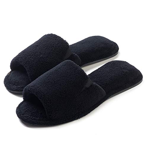 Roxoni Womens Spa Slippers Terry Open Toe; Great for Shower,Pool and Bath