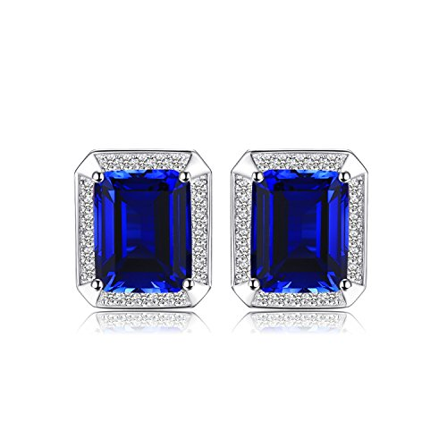 Jewelrypalace Men Luxury 8.6ct Created Blue Sapphire Wedding Cufflinks 925 Sterling - Sapphire Cufflinks