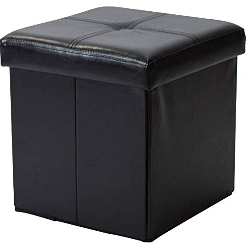 GT Ottoman Folding Storage Containers Black Upholstered Stool Bench Home Ottoman Tray Lid Tufted Furniture Ottoman Bench Seat Living Room & E book Easy 2 Find. by GT