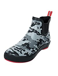 CAMSSOO Women's Men's Elastics Anckle High Rain Boots Shoes with Pull-on Loop at Back Camouflage Rubber Size 12 US M