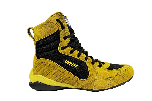 UZAFIT Jackson Bodybuilding Weightlifting Crossfit Boxing Shoe Unisex Sneaker Black and Yellow