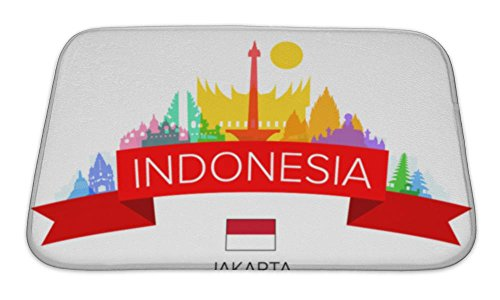 Gear New Bath Mat For Bathroom, Memory Foam Non Slip, Indonesia Travel Jakarta Travel Landmarks And Illustration, 24x17, 5971495GN by Gear New