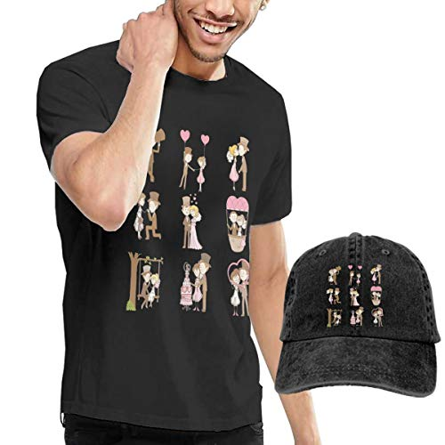 Wedding Doodle Set Bride Man Music T Shirt & Hat Combination M ()
