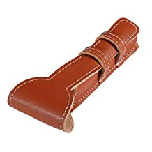 Anself Brown Cowhide Safety Razor Leather Case Classic Double Edge Shaving Leather Pouch Razor Holder Bag