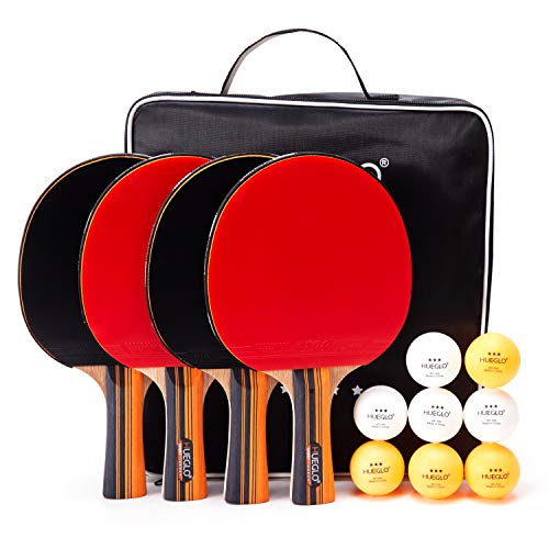HUEGLO Outdoor Ping Pong Paddles Set of 4 Table Tennis Paddles and Balls Set for Any Table,Pro Premium Table Tennis Racket Professional Spin Rubber Bat,3 Star Balls,Portable Storage Case