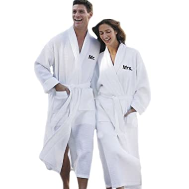 Simplicity Mr. & Mrs. Waffle Spa Robe Set - Embroidered Mr. and Mrs. Robe