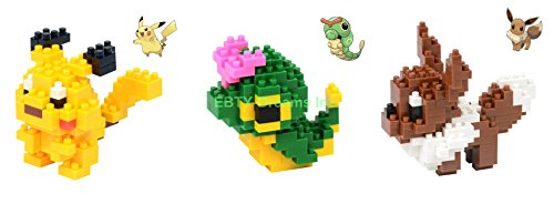 EBTY-Dreams Inc - Set Of 3 Pokemon Nano Lego Educational Building Blocks Toy - Pikachu, Eevee & Caterpie