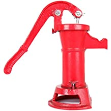Ridgeyard Shallow Well Pitcher Hand Pump 1160 / PP500NL Red #2 Cast Iron Press Suction Water Garden Outdoor Yard Ponds