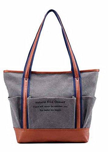 VogueZone009 Mujeres Compras ToteStyle Bolsas de Mano Casual Bolsas de Hombro,CCAYBP180702 Gris