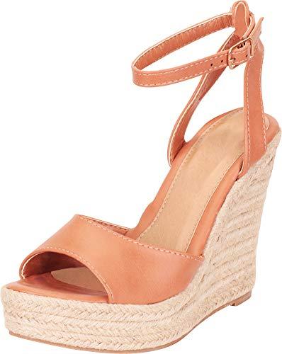 Cambridge Select Women's Ankle Strap Chunky Espadrille Platform High Wedge Sandal,8.5 B(M) US,Cognac PU Designer Ankle Strap Sandals
