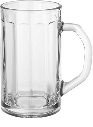 Pub Optic Glass Beer Mugs Beverage Drinking Glasses, Set of 4, 16.4 oz, Glassware Tumbler Cups for Water, Juice, Whiskey, Wine & Cocktail Beverages (Milk Glass Beer)